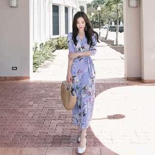 🚚 [PRE-ORDER] Women Slim Show Thin V Neck Printing Dress