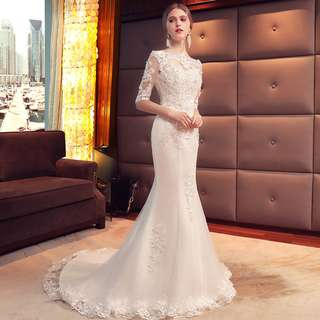 pre order white off shoulder long sleeve mermaid fishtail wedding bridal dress gown  RB0626
