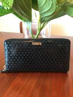 Kate Spade Black patent leather zip wallet