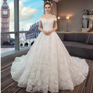 pre order white red off shoulder sequin fishtail wedding bridal dress gown  RB0627