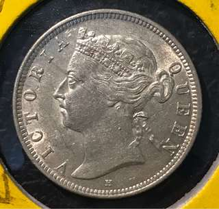 "⭐️ Rare! 1897H Straits Settlements 20 Cents Queen 👸 Victoria, ""H"" Variety UNC, Rare! ⭐️ Kindly make your best offer!"