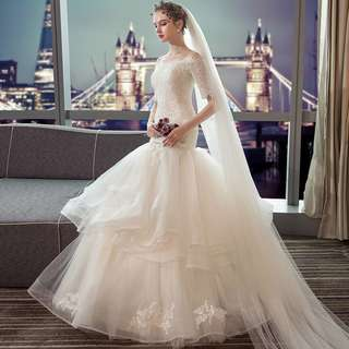 pre order white long sleeve off shoulder layered bodycon mermaid wedding bridal dress gown  RB0628