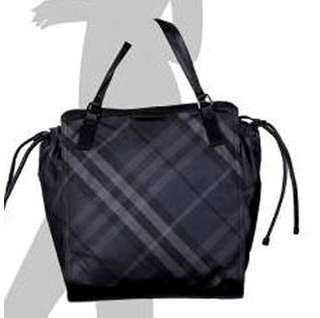 Authentic BURBERRY Buckleigh Packable Nylon Shoulder Bag Travel Tote Shopper