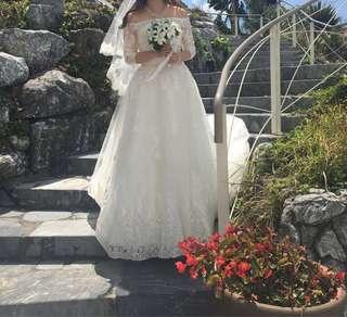 一字肩中袖拖尾婚紗Lace婚紗 送lace短頭紗 Prewedding Bigday Wedding Gown 七分袖 長袖