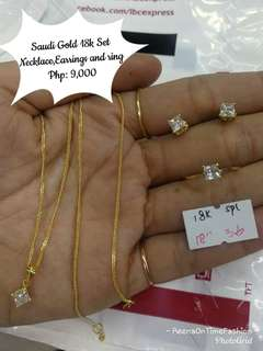 Saudi Gold 18k set (necklace,earrings and ring)