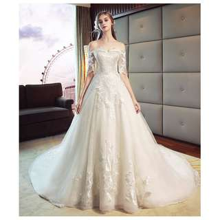 pre order white off shoulder long sleeve fishtail wedding bridal dress gown  RB0630
