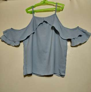Pre-loved Cold Shoulder Top in Baby Blue