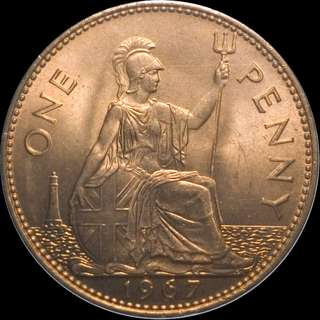 1967 Large UK Penny Young Queen Elizabeth