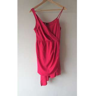 Sparkle and Fade cherry red short asymmetrical dress