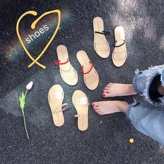 韓風透明彩色夏天感拖鞋