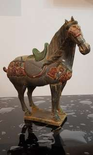 Ceramic horse in grey and green