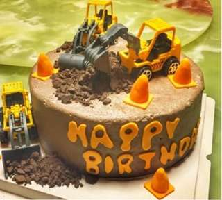 🚜 3 pcs Construction Trucks Cake Topper Bulldozer Front Loader  Figurine Toy Fondant Toppers Figure Birthday Decoration Heavy Vehicle Truck
