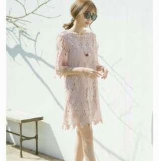 🚚 乾燥玫瑰粉色蕾絲洋裝