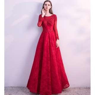 pre order Muslimah red long sleeve prom wedding bridal dress gown  RBMWD0164