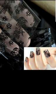 3D Black Lace Nail Art Tool Stickers Flower Nail Decals Tips Manicure Tool
