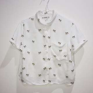 Pull&Bear Beagle Crop Button-up