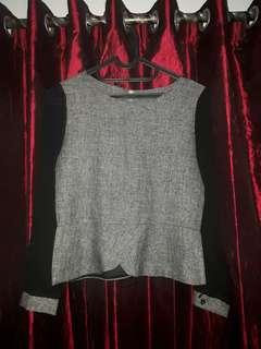 Outfit/Blouse/ overalls(baju kerja) hitam abu-abu  lengan transparan
