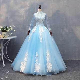 pre order Muslimah blue long sleeve prom wedding bridal dress gown  RBMWD0165