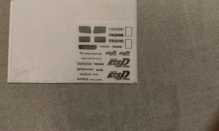 1/18 1/24 Toyota Trueno AE86 Initial D Fifth Stage Metal Decals