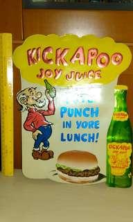 Vintage rare Kickapoo Joy Juice card board sign.
