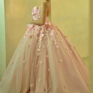 Baby Pink Floral Balloon Gown
