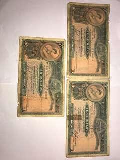1941+1947+1948 匯豐10元大綿胎各一張 有穿爛 $450包平郵