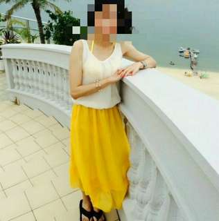 🚚 渡假風白黃雪紡紗洋裝