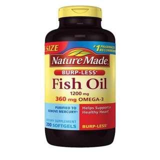Nature Made Fish Oil 1200 mg Dietary Supplement Liquid Softgels (200 Softgels)