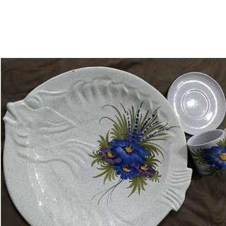 🚚 法國立體浮雕大魚盤與杯組