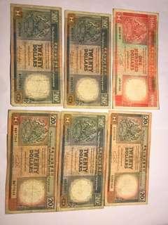 匯豐20元 1986X2+1988+1990+1991各1+ 1990匯豐100一張 = $225包郵