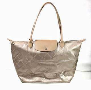 Longchamp Metal Gold MLH Rare Item