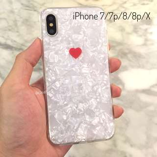 Lovely Pearl Heart iPhone 7/7p/8/8p/X case