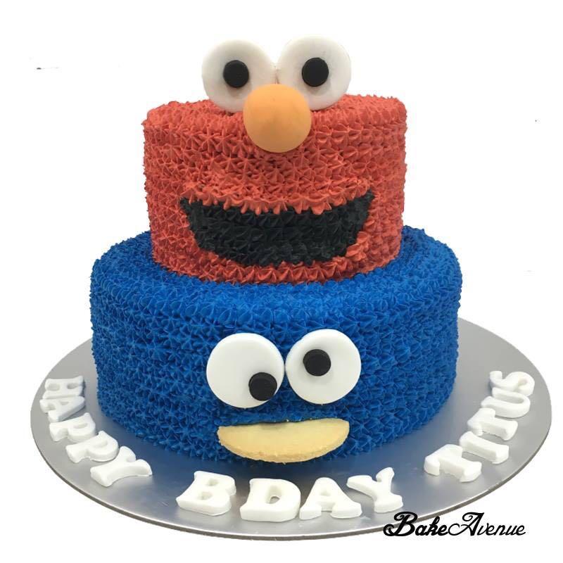 2 Tiers Elmo Cookie Monster Cake Food Drinks Baked Goods On