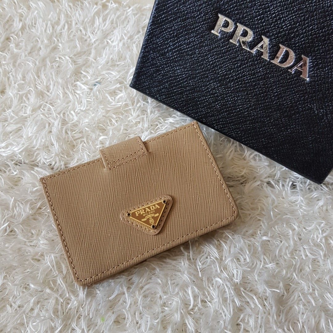 20cd0d64e95b Authentic Prada Saffiano Oro Leather Business Card Holder Wallet ...