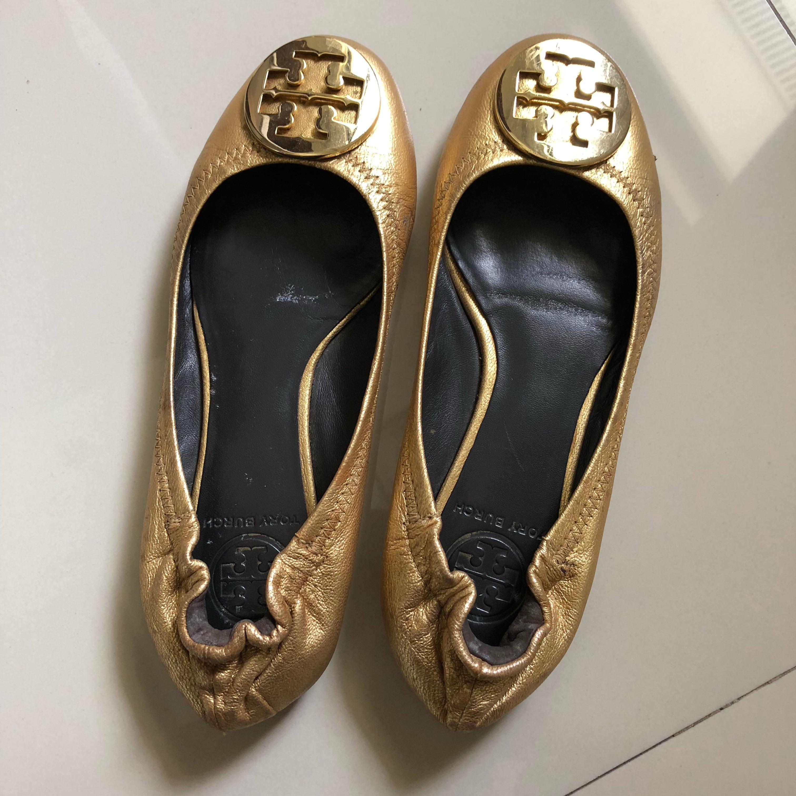 7610ff1fa14 Authentic Tory Burch Reva Gold Size 7