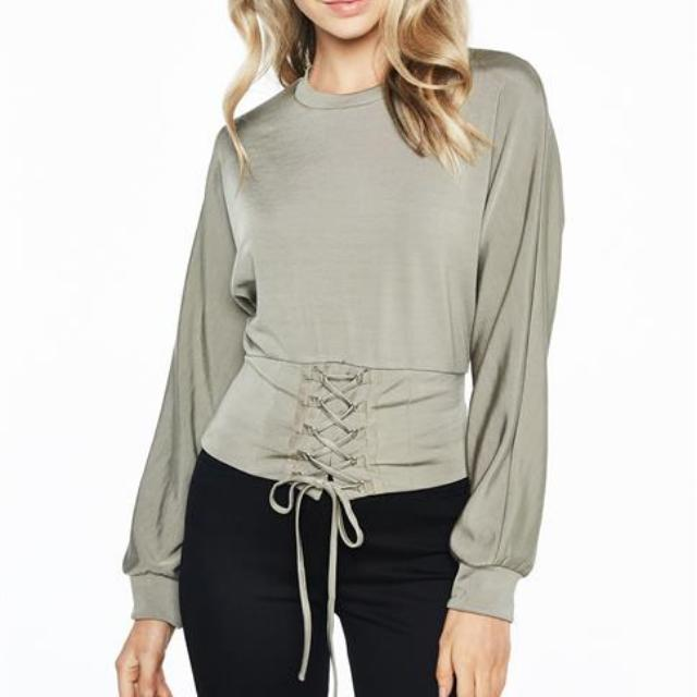 Bardot Army Long Sleeve Top