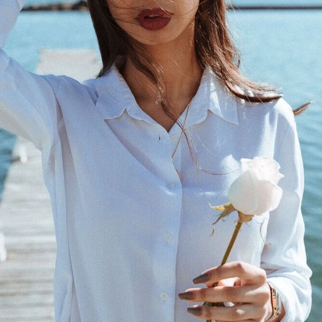 Boohoo white oversized button up