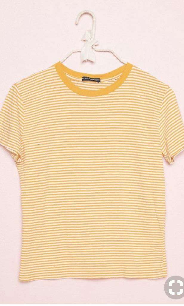 870643d1a8 brandy melville yellow striped tee, Women's Fashion, Clothes, Tops ...