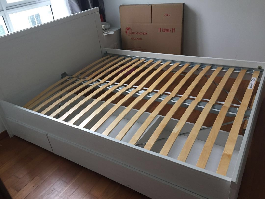 Cheap Ikea Bed Frame White Queen Double Furniture Beds