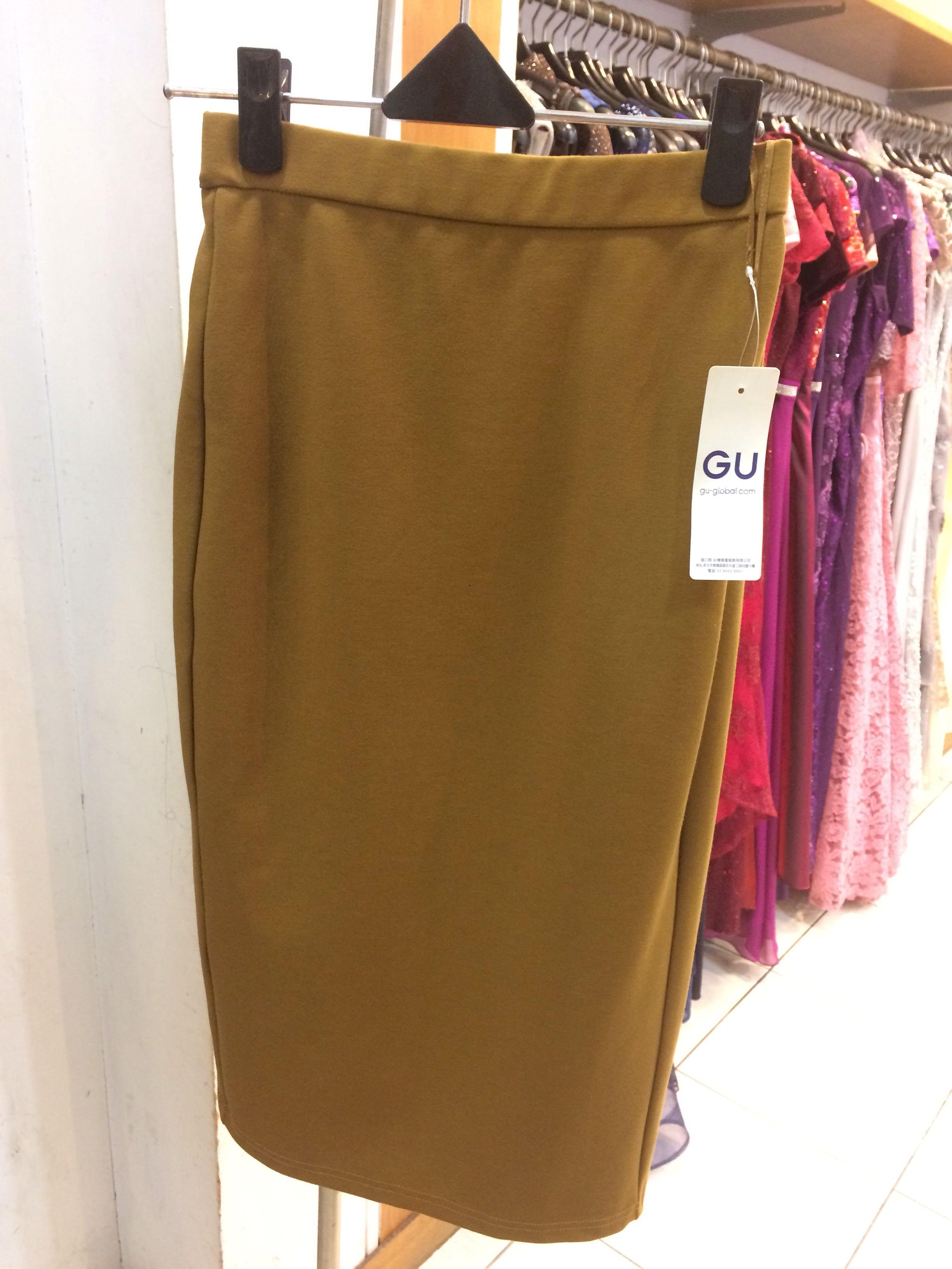 GU購入駝色窄裙(全新未剪標)