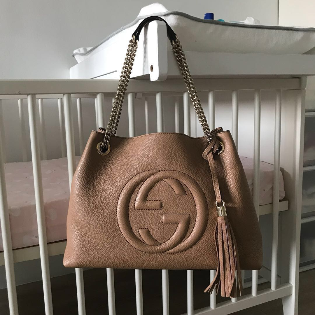 8c322185a Gucci Soho Pebbled Calfskin Chain Shoulder Bag - Rose Beige, Luxury ...