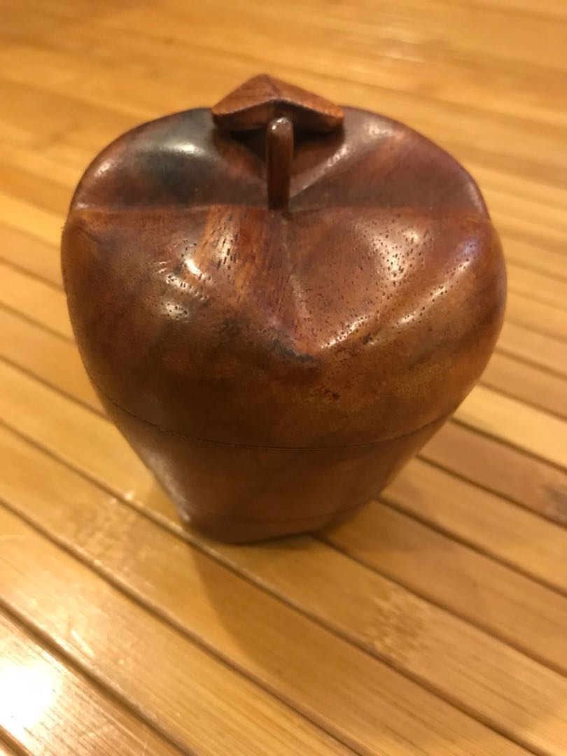 Handcrafted Wooden Apple Trinket Box With Secret Compartment Design