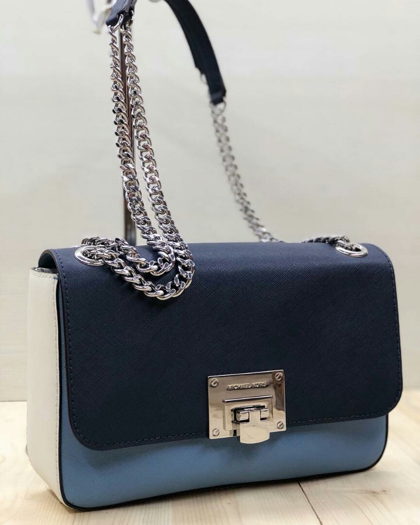 Michael Kors Tina Shoulder Flap Navy Sky Size 25x17 Luxury Bags Tas Slempang By Ina Collection Medan Wallets On Carousell