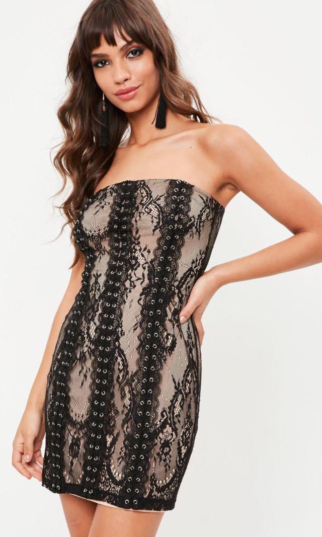 Missguided Size 10 Black Lace Bandeau Bodycon Dress