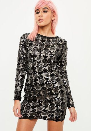Missguided Size 10 Black Sequin L/S Bodycon Dress