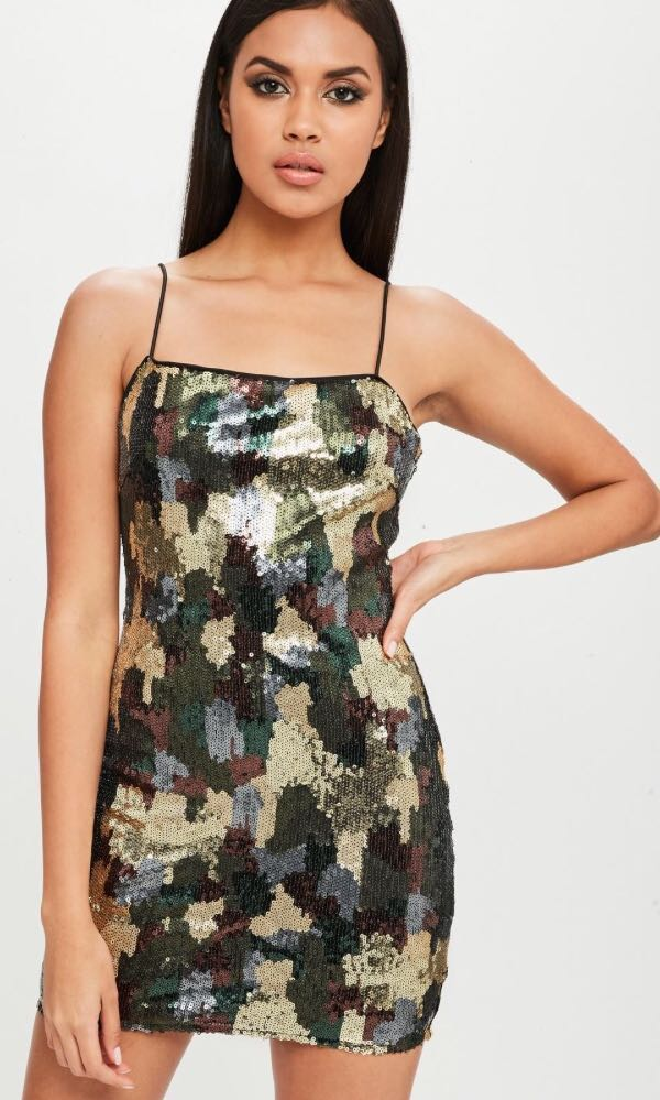 Missguided Size 10 Camo Sequin Dress