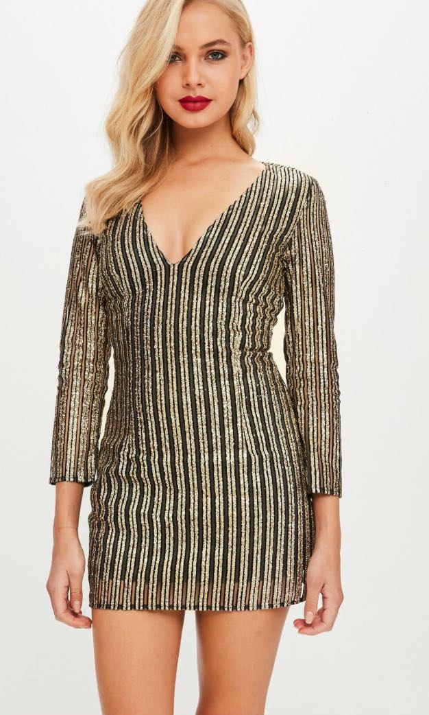 Missguided Size 10 Petite Gold Sequin Dress