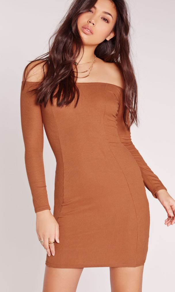 Missguided Size 10 Tan Ribbed Bodycon Dress