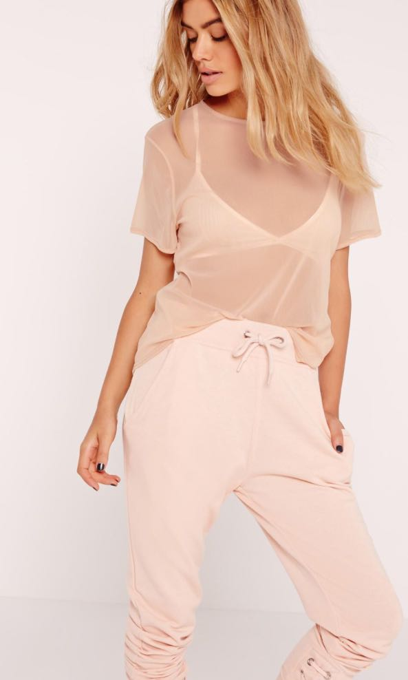 Missguided Size 8 Petite Nude Mesh Tshirt