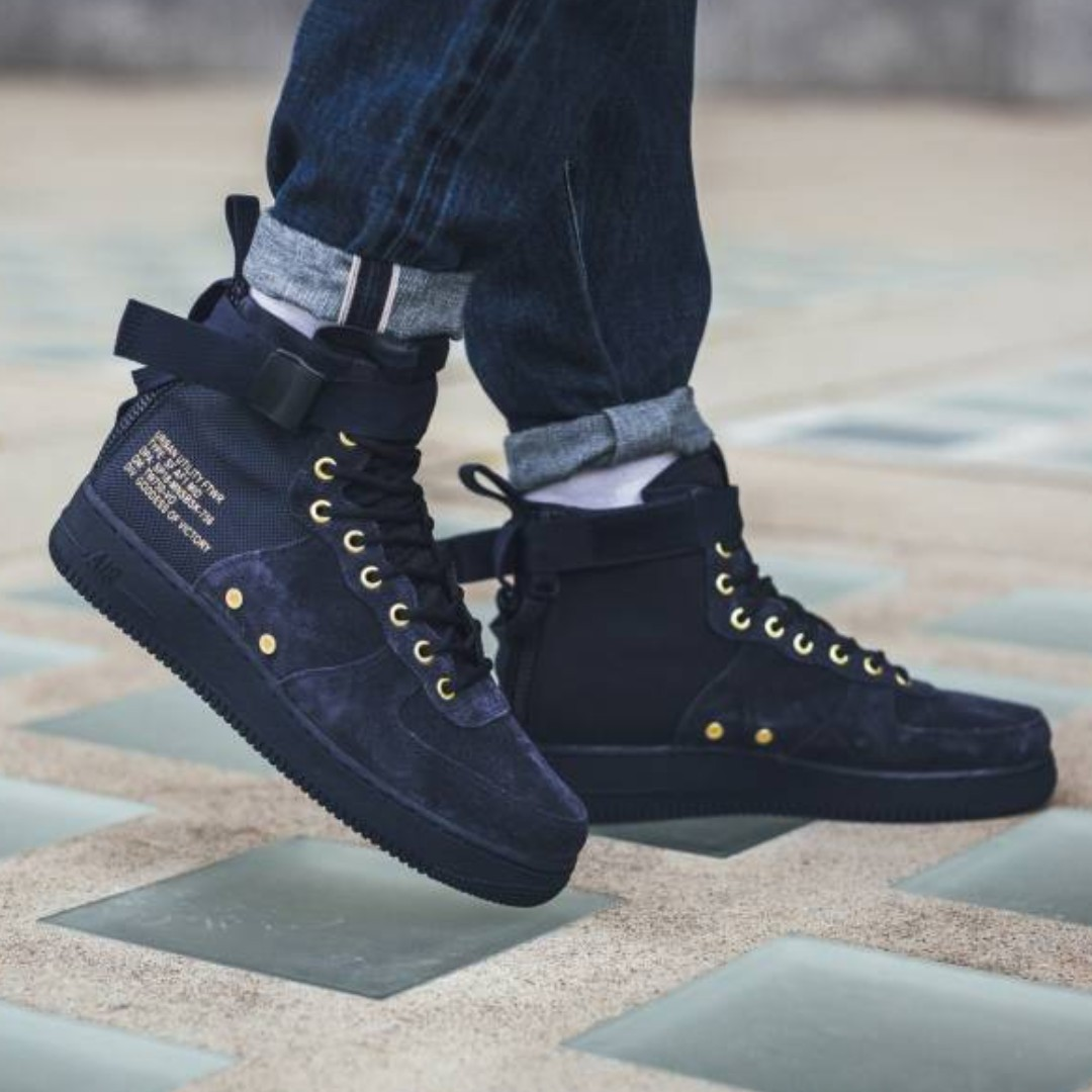 3cbaa294c76427 PO) Nike Mens Special Force Air Force 1 Mid Obsidian Navy